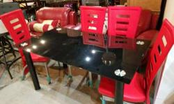 Modern Dinning Table with Red Chairs