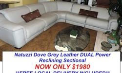 Natuzzi Touch Power Dual Reclining Leather Sectional