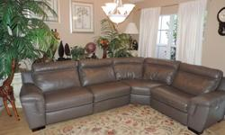 Natuzzi Touch Power Triple Reclining Leather Sectional