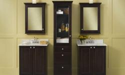 New Bathroom Vanity, Mirror Wall, Linen Cabinet-Espresso
