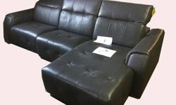 Novara Slate Gray or Dove Gray Leather Reclining Sofa,