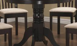 Pedestal Round Dining Table in Cappuccino and Dining Chairs