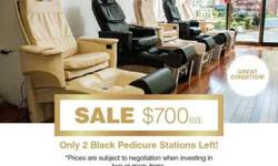 Pedicure Stations (2 Black Chairs Remaining)