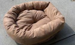 Pet Relaxer bed, tan, microsuede, like new