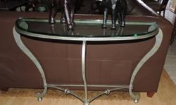 Rare Designer Wrought Iron Glass Top Foyer Table