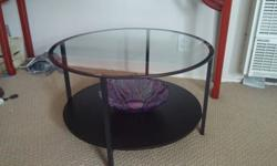 ROUND GLASS, IRON, & WOOD DOUBLE DECKER COFFEE TABLE (moving