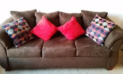 Sofa/Couch - Plush Microfiber/Chocolate/3-seater