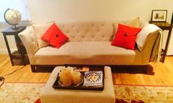 Stylish Linen Sofa in beige, matching ottoman