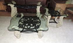 Three Piece Ornate Glass Top Coffee Table Set