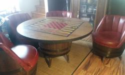 Vintage Game Table With Four Chairs (Leather and Wood)