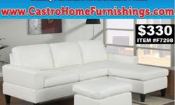 White Leather Reversible Bobkona all in one sectional with